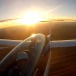 Endanflug mit Sonne im Rücken